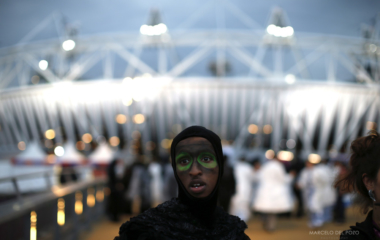 A performer is seen before the start of the 2012 Olympic Games opening ceremony in the Olympic Stadium at the Olympic Park in London