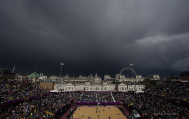 Rain clouds are seen over Horses Guards Parade, where the beach volleyball competition is taking place, at the London 2012 Olympics Games