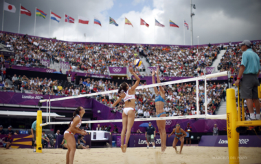 Italy's Greta Cicolari and Marta Menegatti compete against Spain's Liliana Fernandez Steiner and Elsa Baquerizo McMillan during their women's round of 16 beach volleyball match at Horse Guards Parade during the London 2012 Olympic Game