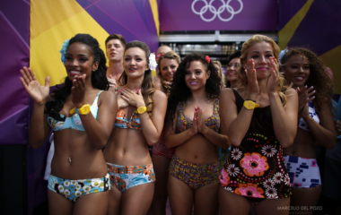 Dancers prepare to perform at Horse Guards Parade during the London 2012 Olympic Games