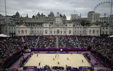 General view shows the Horse Guards Parade during the women's beach volleyball semifinal match between China's Xue and Zhang and May-Treanor and Jennings of the U.S. during the London 2012 Olympic Games
