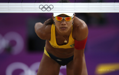 Brazil's Juliana is seen during her women's beach volleyball bronze medal match against China's Xue Chen and Zhang Xi at the Horse Guards Parade during the London 2012 Olympic Games