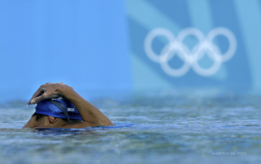 Synchronised swimmer from Greece takes part in a training session in the Olympic aquatic centre in Athens.