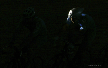 A ray of sunlight shines on the helmet of a Greek cyclist during a free training session in Athens.