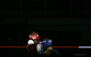 Haydarov of Uzbekistan and Ekpo of Nigeria fight during Olympic boxing bout in Athens.