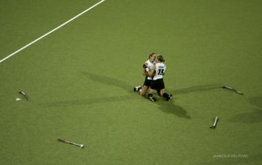 Germans players Ersting Krienki and Rodewald celebrate after winning women's field hockey final ...