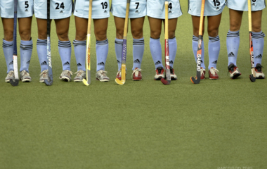 Argentina's players stand before start women's field hockey bronze medal match against [China] at A..