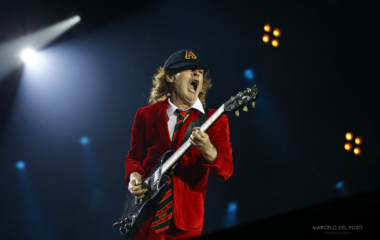 Lead guitarist Angus Young of veteran rock band AC/DC performs during a 'Rock or Bust' world tour concert in the Andalusian capital of Seville, southern Spain