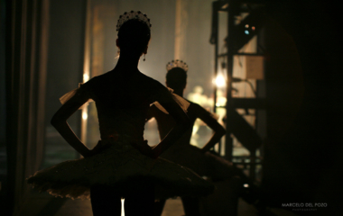 "Ballet dancers from the English National Ballet watch backstage the first act of ""Cinderella"" in Seville"