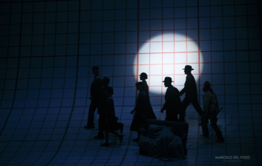 "Cast members perform during a rehearsal of ""Doctor Atomic"" opera at the Maestranza theatre in Seville"
