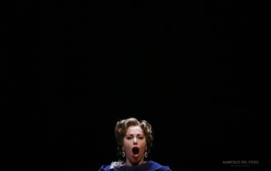 Italy's's mezzosoprano Manuela Custer performs during a rehersal of 'L'Incoronazione di Popea' opera in Maestranza theatre in Seville