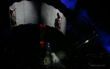 Irish rock band U2 perform during the 360 Degree Tour in Seville